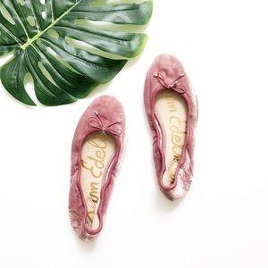 Sam Edelman Felicia Pink Velvet Flats